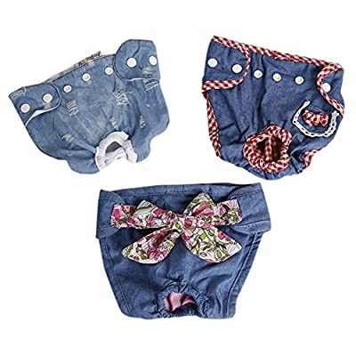 Kuoser 3 PCS Reusable Washable Female Dog Diaper Durable Jeans Demin Doggie Diapers pants Sanitary Pants Underwear Panty For Pet Dog Puppy Teddy with snap button