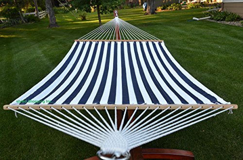 Styled Shopping Deluxe Extra Large Two Person Blue and White Quilted Hammock Set with 15 Foot Long Metal Stand