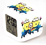 Minion Alarm Clock with Changing Colors Cute Cartoon LED Clock Students Clock-g