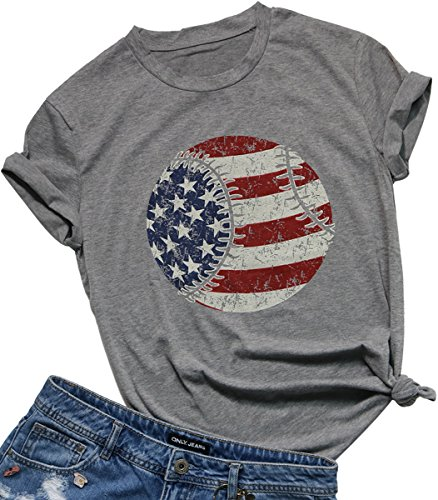 - FAYALEQ Women's American Flag Baseball Printed T-Shirt O-Neck Causal Tee Tops Blouse Size S (Gray)