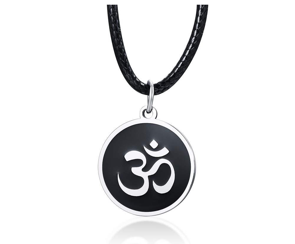 Men's Buddha Namaste Ohm Om Aum Sanskrit Symbol Medallion Pendant Necklace,Hindu Amulet Yoga Jewelry