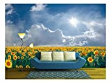 wall26 - Summer Beautyful Landscape with Big Sunflowers Field and Blue Sky with Clouds - Removable Wall Mural | Self-Adhesive Large Wallpaper - 100x144 inches