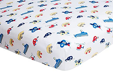 Crib Sheet Boy, Fitted - Planes Cars and Boats Frenchie Mini Couture - Green Bay Packers Jersey Comforter