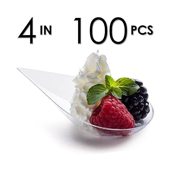 Bowls Asian Serving Dish 110 pack ImpiriLux 4 inch Plastic Teardrop Appetizer Tasting Spoons | Mini Dessert Plates Disposable Catering Supplies