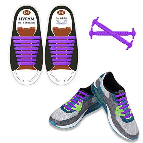 HYFAM No Tie Shoe Laces for Adults, Elastic Waterproof Tieless Running Shoe Laces, No Tie Shoelaces for Walking Boots and Running Sneakers