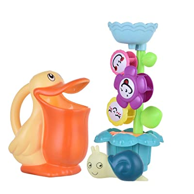 Dingji Baby Bath Toy Set Flower Waterfall Water Station Kids' Best Gift: Toys & Games