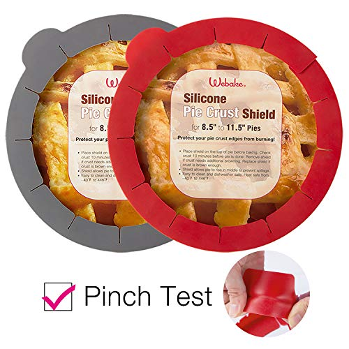 - Webake Pie Crust Protector Shield Adjustable Pie Crust Shield Fits 11.5-9 Inch Pie Pan, European Food Grade Silicone Pinch Test Passed, Pack of 2 Red and Grey