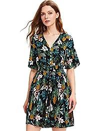 9db9ebef511 Women s Boho Button Up Split Floral Print Flowy Party Dress