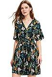 Milumia Women's Button Up Split Floral Print Flowy Party Maxi Dress Large a-Multicolor-Green-1: more info