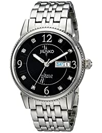 Jiusko Mens 24 Jeweled Automatic Silver Dress Wrist Watch - Sapphire - Stainless Steel -Day Date - Exhibition Caseback - Black Dial - 118MLS2
