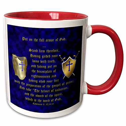 Ceramic Armor Plate (3D Rose 40072_5 Ephesians 6: 10, 14, 15 Put on Full Armor of God Breastplate, Shield, Swords Two Tone Ceramic Mug, Red)
