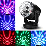 JUDYelc Karaoke Machine Party Lights Disco Ball Lights DJ Stage Lamp 6 Colors Sound Activated Strobe Portable Digital Display Magic Ball for Festival Bar Club Party Outdoor and More