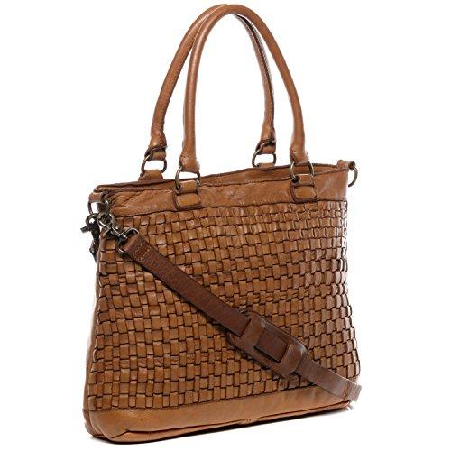 BACCINI Borsa da donna ROSA - borsa a mano - borsa grande vera pelle marrone