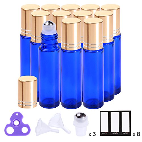 Essential Oil Roller Bottles 10ml ( Blue, Glass, 12pack, 3 Extra Roller Balls,24 Pieces Labels, Opener, 2 Funnels by PrettyCare ) Roller Balls For Essential Oils, Roll on Bottles