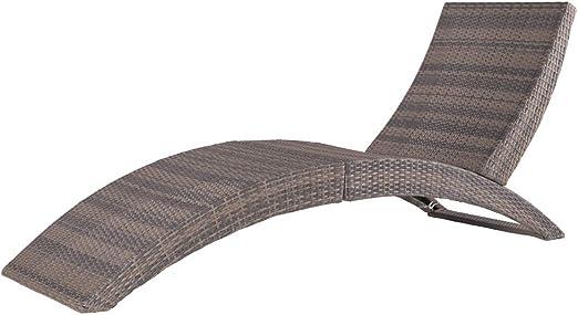 Tumbona plegable para jardín de plástico marrón: Amazon.es: Jardín