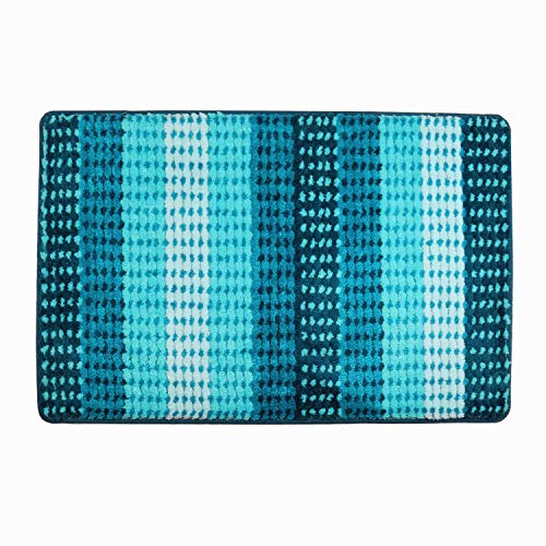 Hihome Bright Blue Stripes Doormats Non-Slip Outdoor Door Mats Inside Entrance Rugs 36-Inch by 24-Inch (Blue Gradient)