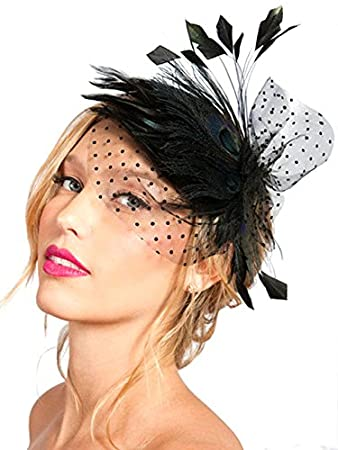 b8e2906e530a1 Image Unavailable. Image not available for. Color  S E Women s Elegant Black  Peacock Feather Bridal Fascinator Birdcage Face Veil ...