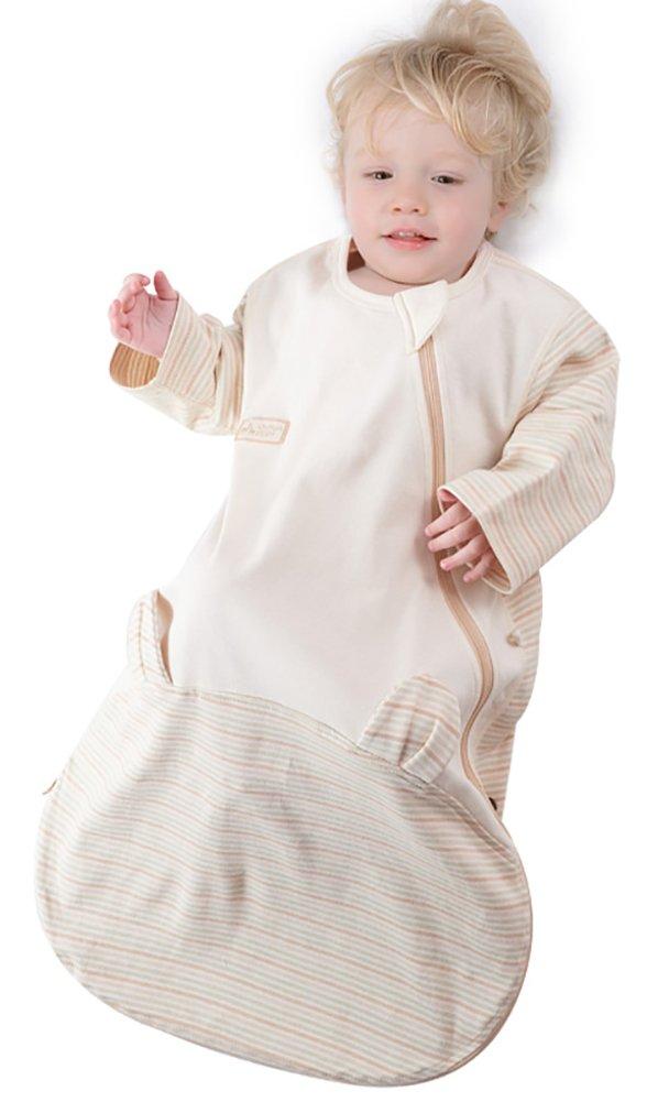 Luyusbaby Organic Cotton Baby Sleeping Bag with Feet Detachable Sleeve Wearable Blanket