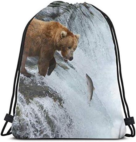 ヒグマ狩りサーモン巾着バックパックバッグWomen&Menスポーツジムバッグ36 x 43cm