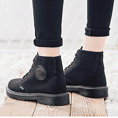 Sport de BLACK corto tobillo Lienzo zapatos 37 talón 40 botas mujeres Martin soporte cálido de Casual BLACK cordones de Las 7xfqEwBp