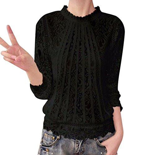 Amazon.com : Clearance!Youngh New Womens Blouses Shirts Women Plus Size Lace Blouses Solid Casual Tops Long Sleeve Chiffon Shirts Daily Fashion Blouse ...
