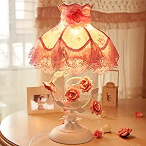 table lamp Cloth table lamp iron roses pastoral princess bedroom bedroom bedside lamp girlfriend wedding wedding gift A+