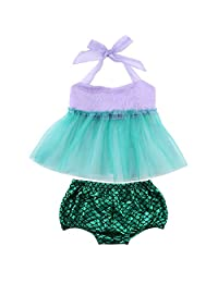 Toddler Baby Girls Mermaid Summer Suit Tulle Tops+ Shorts 2pcs Clothes Dress Set