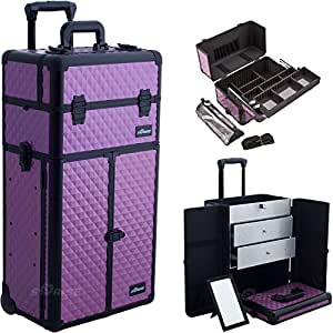 Sunrise I3766DMPLB Purple Diamond Professional Rolling Aluminum Cosmetic Makeup Craft Storage Organizer Case French Door Opening with Large Drawers and Easy Slide Extendable Trays and Brush Holder