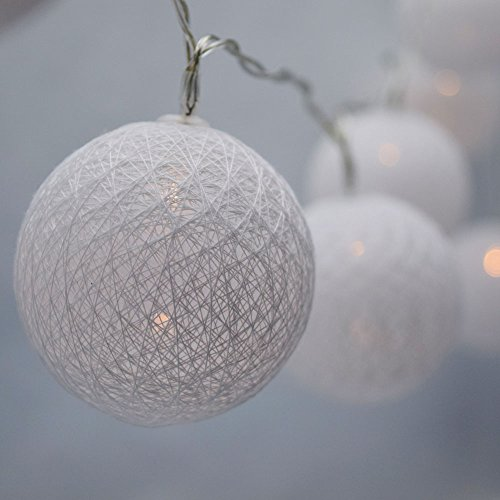 (PaperLanternStore.com 10 LED White Round Texture Cotton Ball Woven Spun String String Light, 5.5 FT, Battery Operated w/Timer)