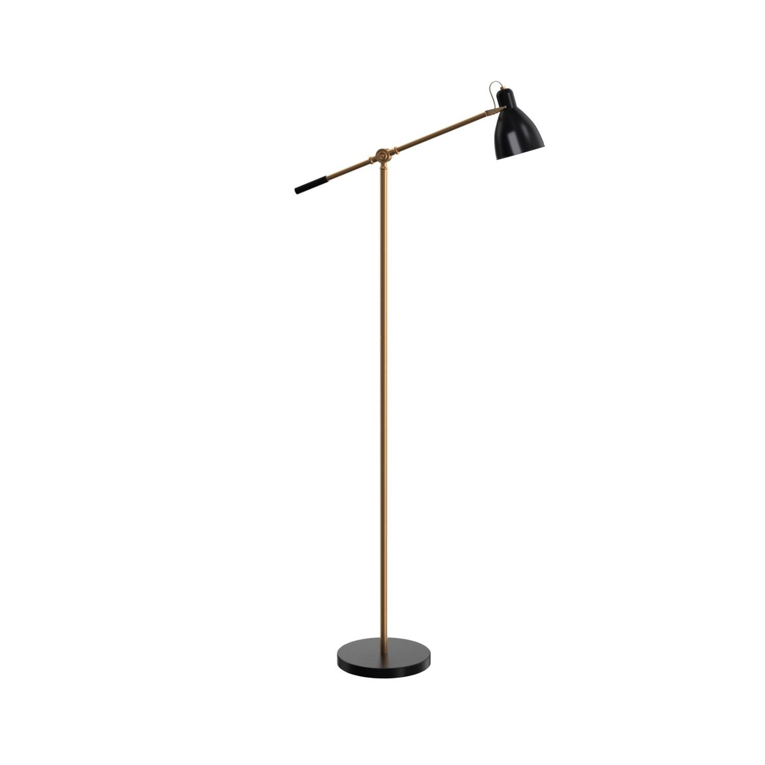 Rivet Caden Adjustable Task Floor Lamp with LED Bulb, 60''H, Black and Brass by Rivet (Image #7)