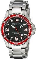 Stuhrling Original Men's 593.332TT11 Aquadiver Grand Regatta Swiss Quartz Diver Date Red Bezel Watch