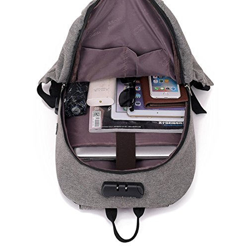 Hombro Color Bolsillo USB Hombres Gray Oblicuo de Bolso antirrobo de Carga Gray código Tsutou Bolso de Bloqueo para Mochila AaEx8fq