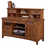 Ashley Furniture Signature Design - Cross Island Home Office Large Credenza with Low Hutch - Medium Brown