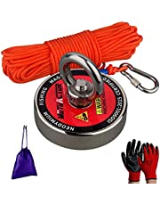 Mutuactor N52 Neodymium Fishing Magnet Super Powerful 180KG Pulling Force, Rare Earth Magnet Kit With 20M Rope a Pair of Glove and a Bag,Perfect for Beginners Magnet Fishing and Salvage in River