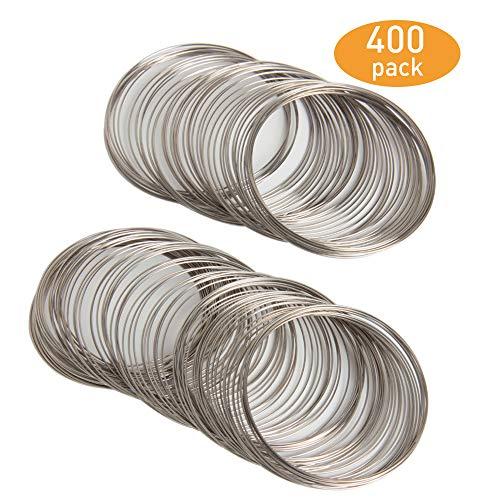 Memory Wire Bracelet - SBYURE 400 Loop Jewelry Wire,Alloy Beading