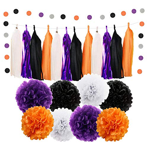 WAYSLA Birthday Hanging Decorations Set,30pcs Orange Purple White Black Paper Pom Poms Metallic Purple Tassel Garland Silver Polka Dot Paper Garland Kit for Kids Birthday Party, Baby Shower, Wedding ()
