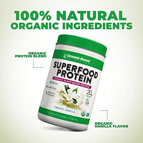 Superfood Protein, Plant-Based Protein Powder – Superfood + Greens for Immune Support – Lean, Organic, Vegan, Keto, Paleo, Lactose-Free, No Sugar, Low Calorie Protein Powder, Non-GMO, Gluten Free (20 Servings, Creamy Vanilla) 5