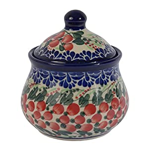 Traditional Polish Pottery, Handcrafted Ceramic Sugar Bowl with Lid (300ml / 10.5 fl oz), Boleslawiec Style Pattern, C.201.CRANBERRY