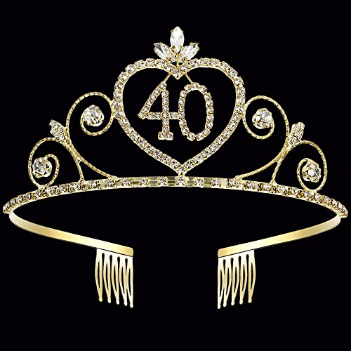 Coucoland Crystal Birthday Crown Tiara Rhinestone Princess Birthday Crown Gold Happy 15th/16th/18th/20th/21st/22nd/30th/40th/50th/60th/70th/80th/90th Birthday Crown Tiara (40th)