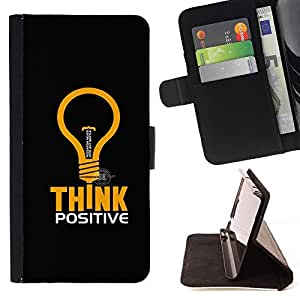 DEVIL CASE - FOR LG OPTIMUS L90 - Think Positive - Style PU Leather Case Wallet Flip Stand Flap Closure Cover