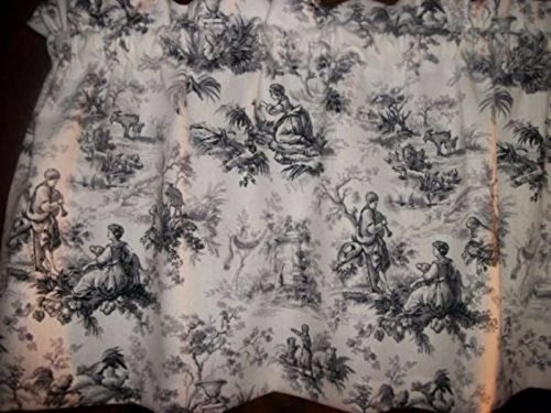 Black White Toile Curtains - Toile Black Gray Chicken Rooster waverly fabric french country curtain Valance