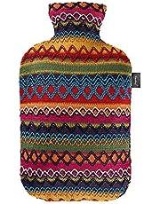 Fashy 6757 25 2007 varmvattenflaska med lock i Peru – design 2,0 L, brun – rosa