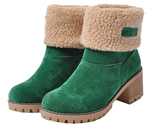 Pull Faux Fur SHOWHOW Heel Block Lined Ankle Booties Mid Women's Green High On Comfy UqwqAt8E