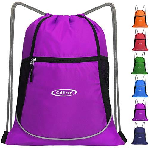G4Free Drawstring Backpack Sports Gym Bag Large String Backpack Cinch Sack Waterproof Swim Bag Women Men Indoor Outdoor(Purple)
