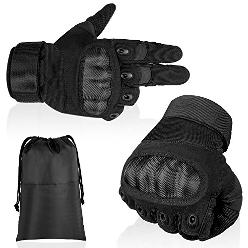 Full Finger Tactical Gloves Touch Screen and Hard Knuckle Protection for Army Military Combat Cycling Motorcycle Airsoft Paintball CS Game Outdoor Activity. (Black, XL) Vent Full Finger