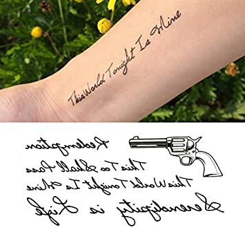 Amazon Com Oottati Small Cute Temporary Tattoo Gun English Word