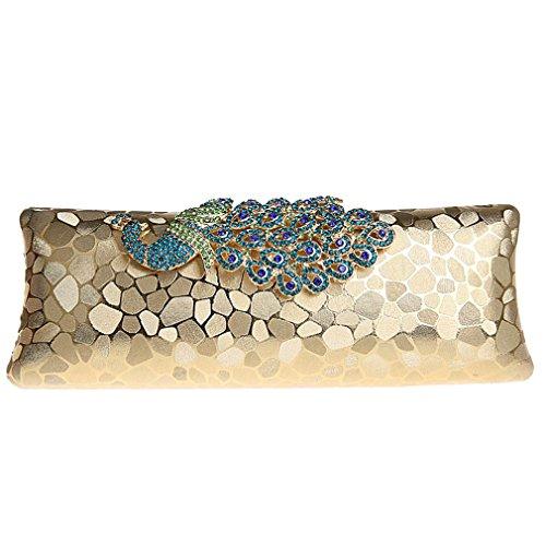 Evening Peacock Rhinestone Belsen Clutch Gold Women's Bag fExqpzzwt8
