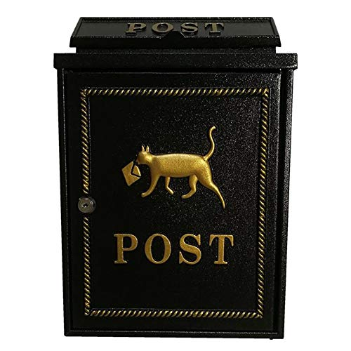 (ALXLX Metal Mailbox, Outdoor Wall-Mounted Weatherproof Mailbox, Post Office Box, Architectural Mailboxes (Color : Black))
