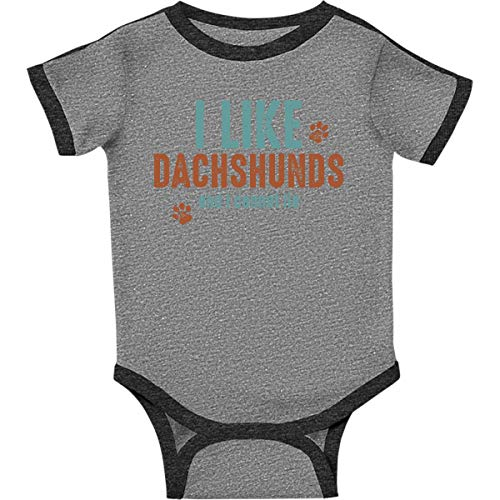 inktastic I Like Dachshunds Infant Creeper 12 Months Ringer Heather and - Dachshund Ringer