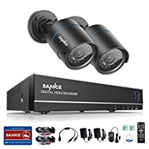 SANNCE 1080N 8 Channel DVR Security Camera System with 2pcs 720P Surveillance Cameras Outdoor, Night Vision, Smart IR-Cut, Mobile Viewing (HDD Not Included)
